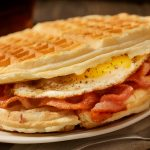 Fried Egg and Bacon Waffle Sandwich-Photographed on Hasselblad H3D2-39mb Camera